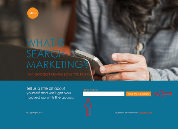 landing page example for ppc lead generation